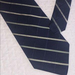 Nautica Men's Neck Tie Navy Blue Stripped 100%Silk